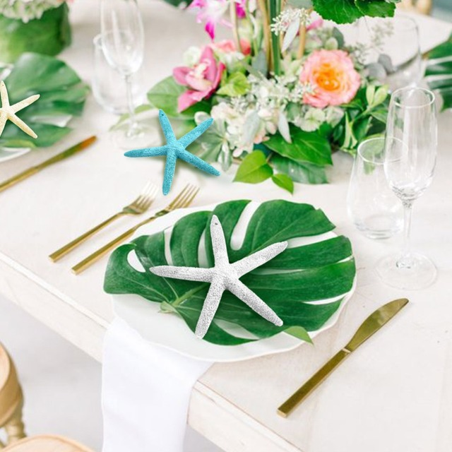 Ourwarm 12pcs 35x29cm Artificial Palm Leaf Hawaiian Wedding Table Centerpieces Placemats Accessories Party Diy