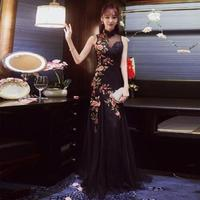 Long Lace Cheongsam Black Sexy Chinese Traditional Wedding Dress Qipao Modern 2017 Korean Fashion Robe Chinoise Party Dresses