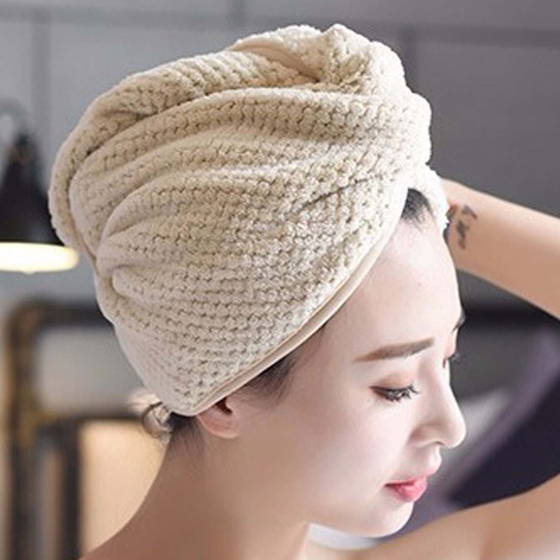 1pcs Coral Velvet Dry Hair Bath Towel Microfiber Quick Drying Turban Super Absorbent Women Hair Cap Wrap with Button