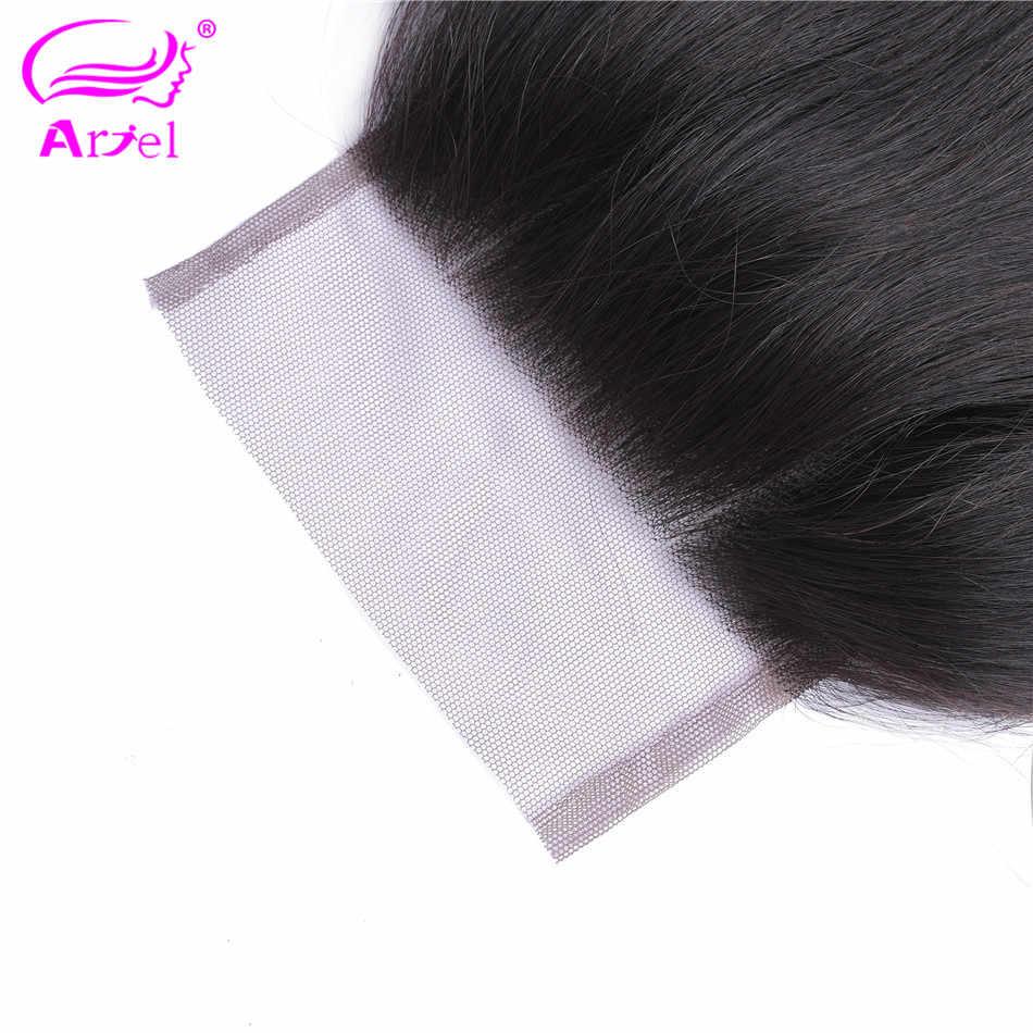 Ariel Body Wave Sluiting 4 × 4 Vetersluiting Bruine Sluitingen Natuurlijke Kleur Niet Remy Menselijk Haar Sluiting Stuk Peruaanse frontale Sluiting