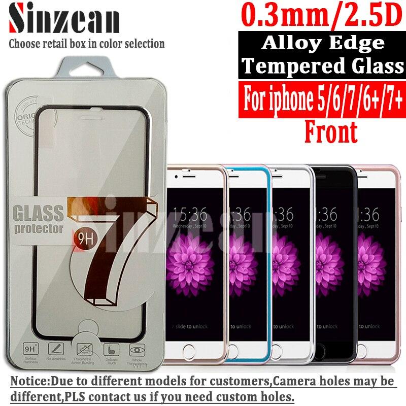 imágenes para Sinzean 100 unids para iphone 7 plus/6/6 s plus 3d aleación titanium edge vidrio templado curvo completo cubierto protector de la pantalla