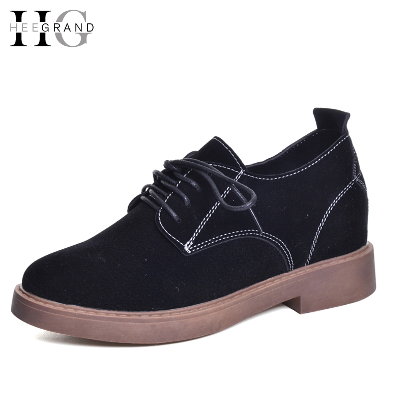 HEE GRAND Vintage Women Boots Lace-Up  Ankle Suede Casual Platform Med Heels Shoes Woman Autumn Women Shoes XWX5846 front lace up casual ankle boots autumn vintage brown new booties flat genuine leather suede shoes round toe fall female fashion
