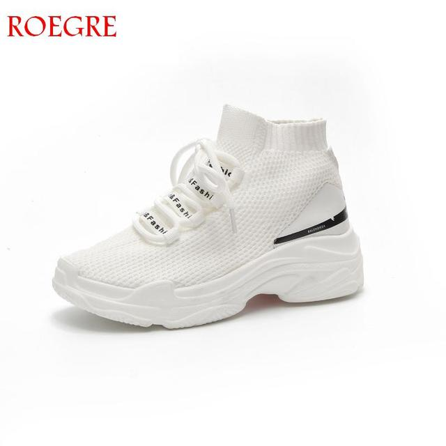 2843440c1 Aliexpress.com : Buy New Casual Sock Shoes Women Sneakers Fashion High top  Slip on Soft Light Summer Breathable Elastic Fabric Platform Flats Shoes  from ...
