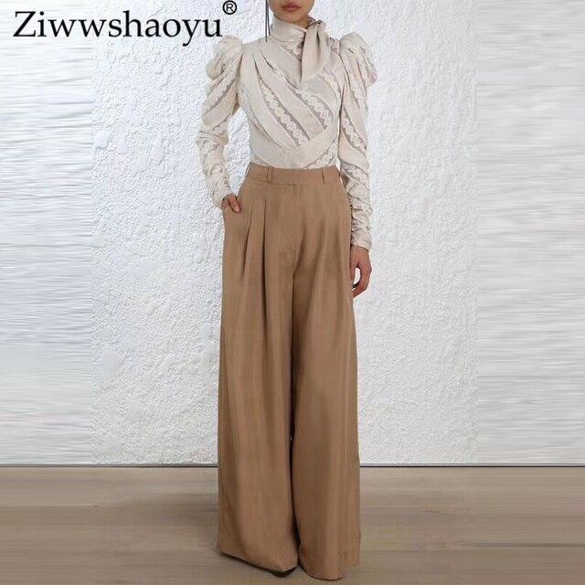 Ziwwshaoyu Europe and the United States 2018 autumn and winter custom new tops  Bohemian Turtleneck Spliced Striped Slim shirt