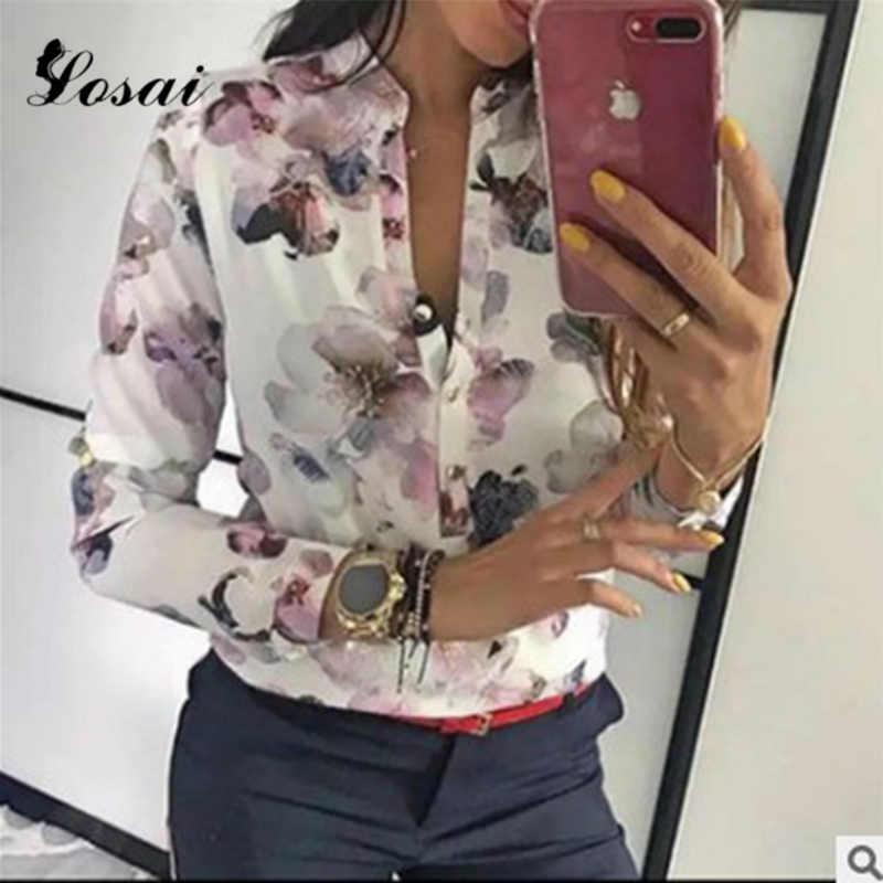2019 אביב נשים חולצה אלגנטית מזדמן חולצות פרחוני הדפסת כפתור עיצוב Blusa ארוך שרוול חולצה בסיסית למעלה חולצות Harajuku