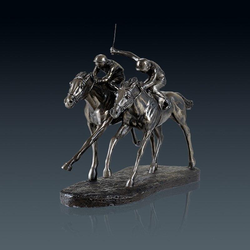 Ретро скачки статуя животных жокей книги по искусству скульптура Смола и медь Craft украшения дома спортивный сувенир L3213