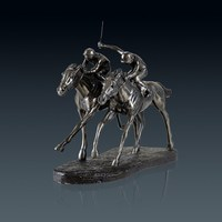 Retro Horse Racing Statue Animal Jockey Art Sculpture Resin And Copper Art&Craft Home Decoration Sports Souvenir L3213