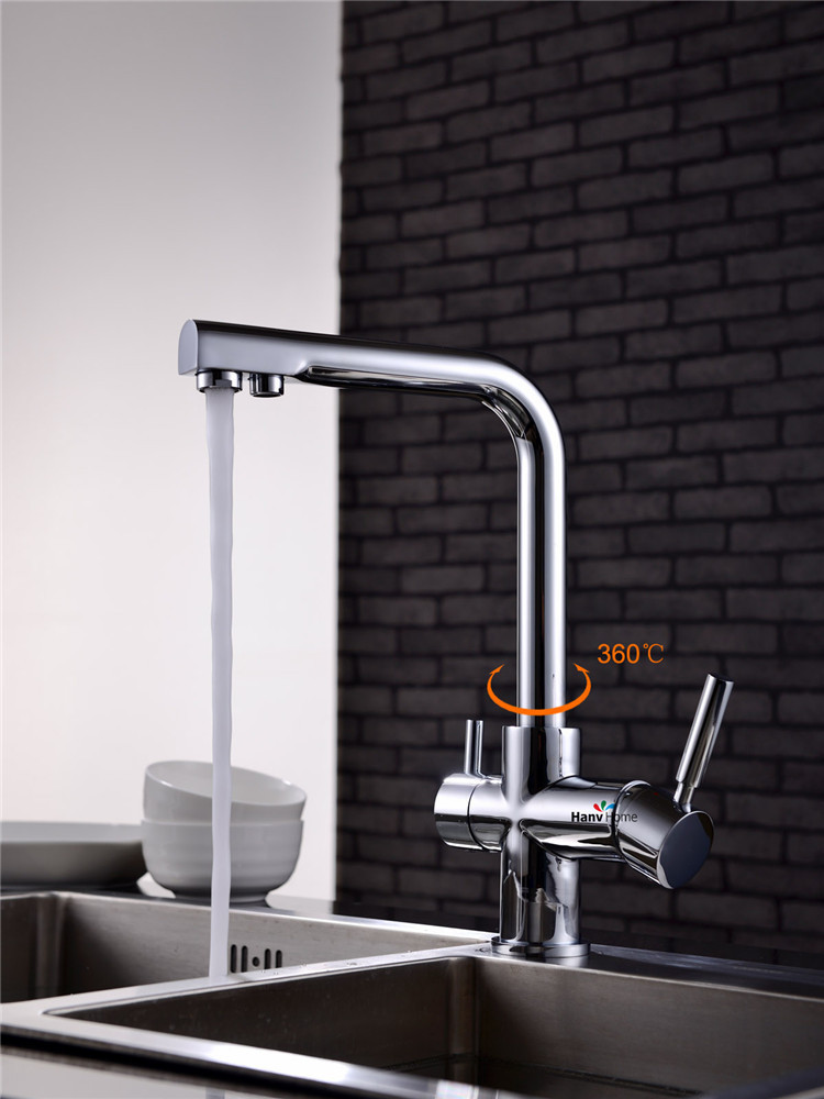100 brass chrome polished 3 Way hot cold kitchen sink mixer faucet 2 holes drinking water