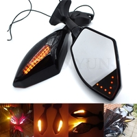 Universal Motorcycle Rearview Mirror LED Turn Signals Integrated Mirrors For Honda Kawasaki Suzuki CSL2017