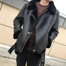 Thick Warm Female Winter Fur  Trim Coat  Shearling  Faux Leather