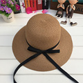 1 Pcs 2017 New Ribbon Bowknot Parent-child Straw Hat For Women Spring Summer Beach Sun Hat For Kids 2 Colors 8530