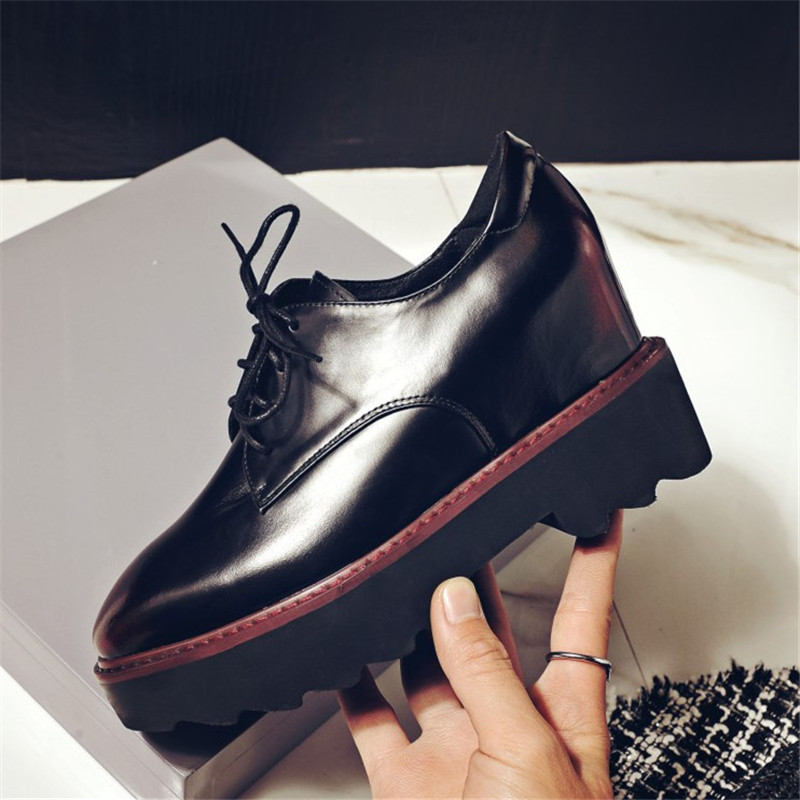 Plus Size 34-43 New Bestseller women shoes Genuine Leather Platform high heels pumps Lace-Up Square Toe Increased Internal shoes цены онлайн