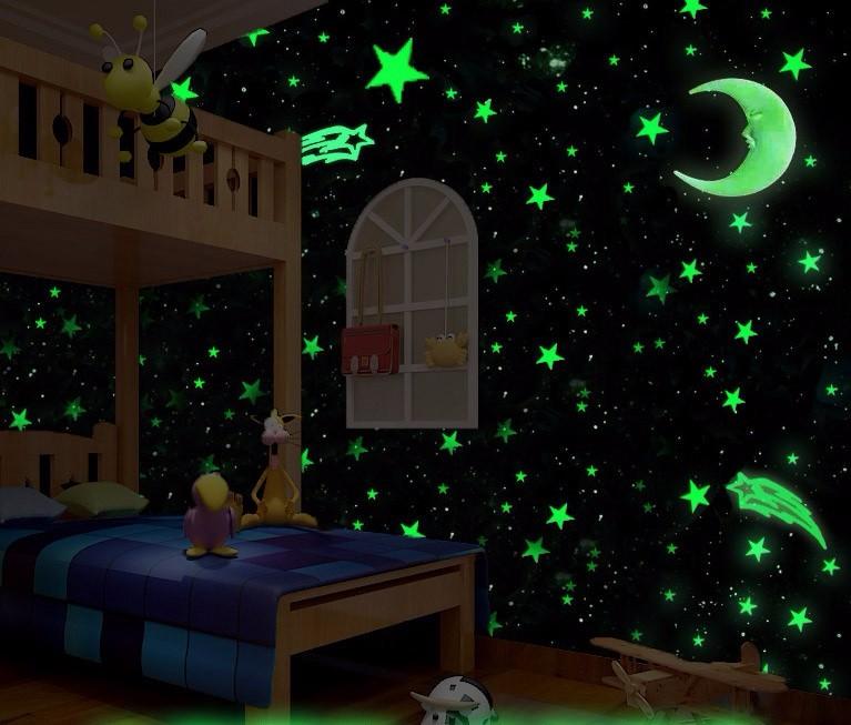 Darmowa Wysyłka Nowy Gorący 100 sztuk 3D Gwiazdy Świecą W Dark Luminous Jarzeniowe Plastikowe Naklejki Ścienne Living Home Decor Kids pokoje 2