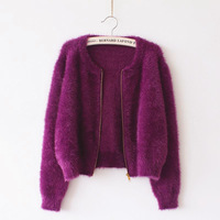 2016 New Spring Autumn Purple Mohair Cardigan Women Sweater Casual Crochet Poncho Women Short Sweaters Vestidos