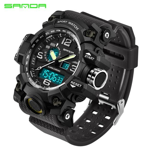 SANDA military watch waterproof sports watches men's LED digital watch top brand luxury clock camping diving relogio masculino 2