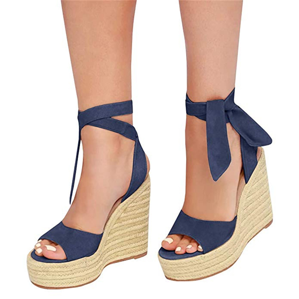 Espadrilles Wedge Sandals Heel Lace-Up Open-Toe Fish-Mouth-Strap Summer Women's Ladies