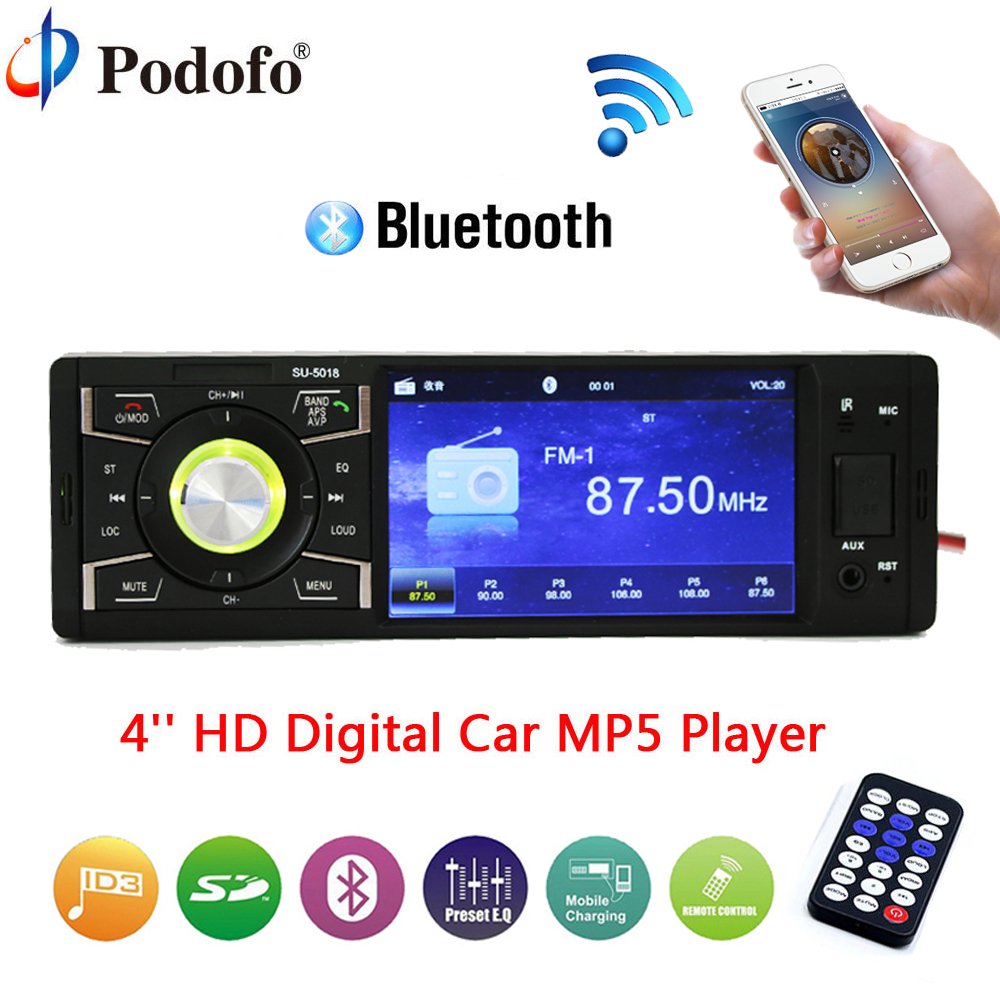 Podofo autoradio Multimedia Player 4 1Din Bluetooth Audio Stereo Car Radio USB FM MP5 USB AUX-IN SD TF Support Rear View Camera