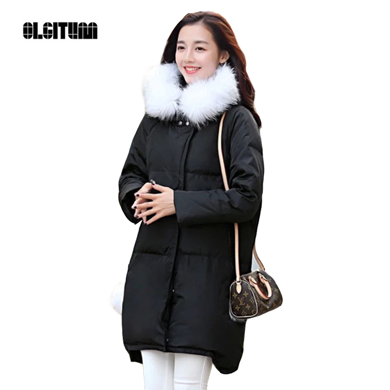 OLGITUM Women 's Winter warm in the long section of Slim was thin winter clothes Tops down jacket Big hair collar  CC056 цены