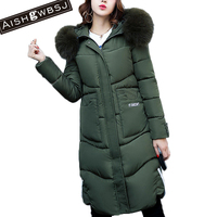 AISHGWBSJ 2019 winter military green parka for women fur collar long jackets with hat female thicker hooded coats cotton PL015