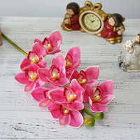 4Pcs Luxury 3D printing artificial grand Cymbidium Orchid flower latex Real touch simulation flower for home wedding decoration