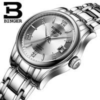 BINGER Fashion Women Watches Ladies Top Brand Luxury sapphire Sport Automatic Mechanical Watch Women Silver Waterproof Watch