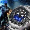 Relógio do esporte De Luxo Homens famosa marca TVG 3168 Masculino Digital Dual Display LED de Quartzo de Aço Inoxidável Relógios de Pulso relogio masculino