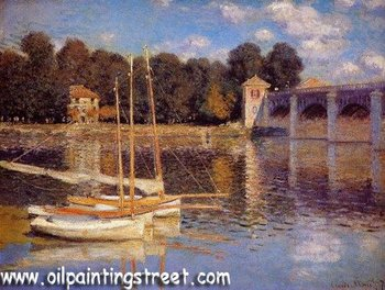Oil Painting Reproduction on linen canvas,The bridge at Argenteuil By Claude Monet , Free DHL,100%  handmade,museum Quality