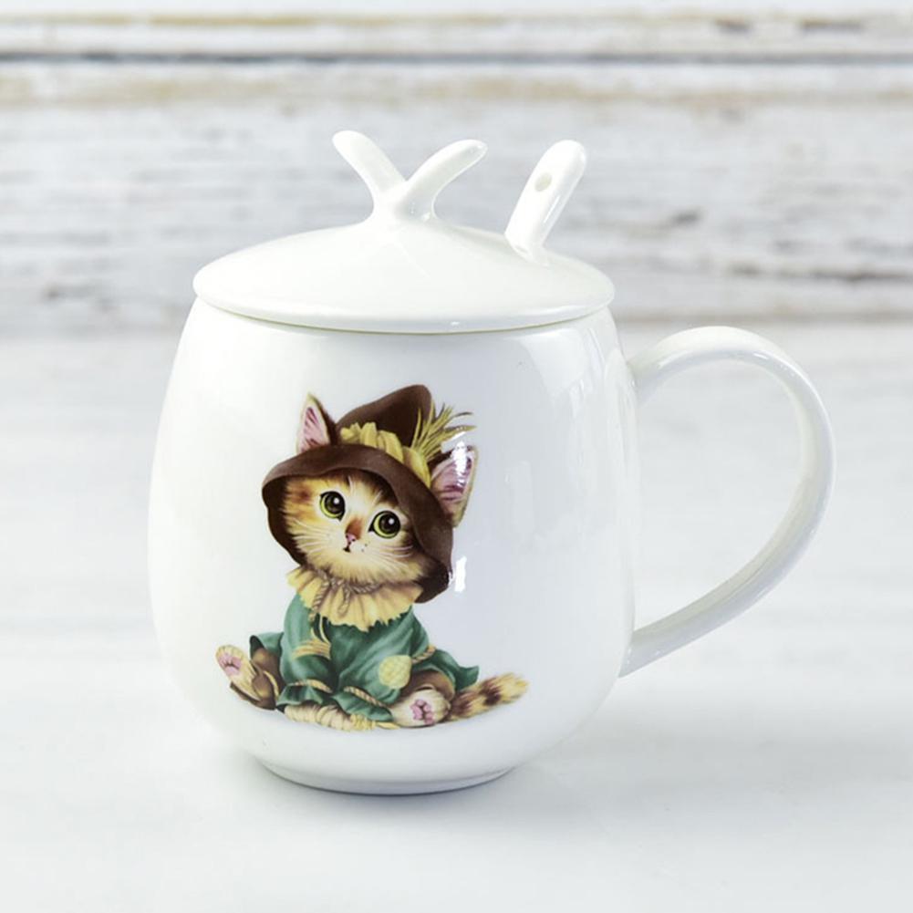 LumiParty Cartoon Cat Ceramic Cup with Lid & Teaspoon Pretty Tea Coffee Milk Mug Gift Decoration-25