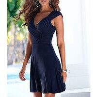 Fashion Women Short mini Dress Sleeveless V Neck Sexy Slim Party Dress Pleated Empire Waist A Line beach Dress LJ4865M 2