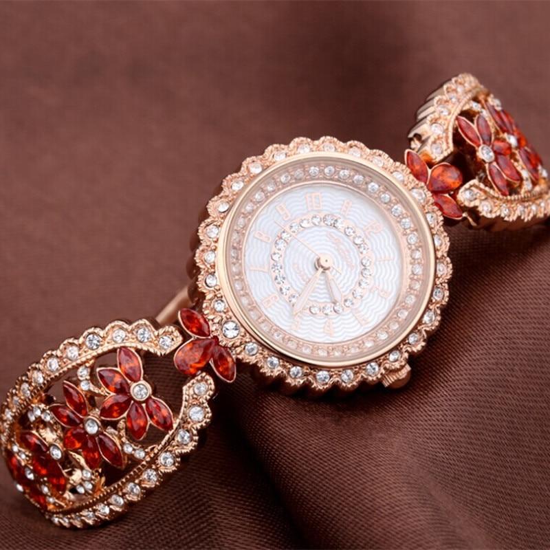 Melissa Luxury Palace Designer Women Jewelry Watches Rhinestones Bracelet Watch Bangle Crystal Flower Wrist watch Quartz Montre