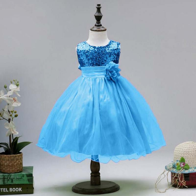 BOTEZAI Girls Dress Wedding Lace Party Princess Sequin Appliques Flower Dresses For Girls Teenage Summer Children Clothes Kids in Dresses from Mother Kids