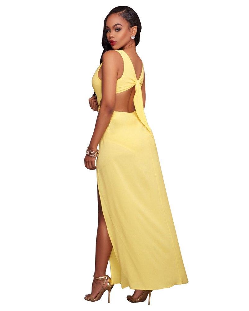 Yellow v neck front split maxi dress