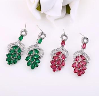 2011f576c50f Lujo uvas forma cuelgan los pendientes para las mujeres CZ cristal verde  pendiente Brincos mujeres joyas boda joyería