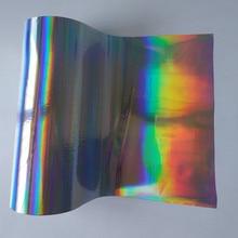 Ограниченное предложение 2 рулона Голографическая фольга горячего тиснения фольгой нажмите на карты бумаги или пластиковой metarials серебро плотная rainbows Горячая фольга