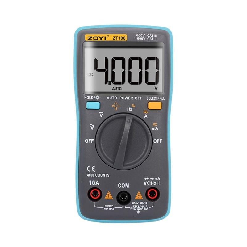 Высокое качество zt100 Портативный ЖК-дисплей Экран Цифровой мультиметр 4000 отсчетов ток Напряжение ом Тестер Авто Диапазон Амперметр
