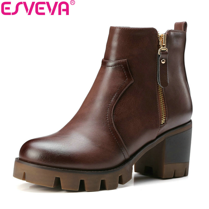 ESVEVA 2018 All Match Women Boots Square High Heel Round Toe High Quality Lining Autumn Spring Ladies Ankle Boots Size 34-42 hot sale autumn winter shoes round toe fashion ankle women boots sheepskin all match square high heel