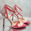 Mixed Color Women Ankle Strap Summer Gladiator High Heels 10CM Women Pumps Sandals Wedding Dress Shoes Woman Sandalias Mujer