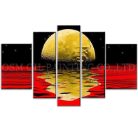 Top Artist Handmade High Quality Dark Color Abstract Landscape Moonlight Oil Painting Abstract Moon in the Water Oil Painting