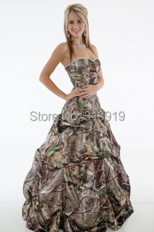 Aliexpress.com : Buy strapless sweetheart long camo prom dresses ...