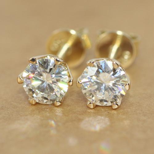 18K 750 White Yellow Gold 1CT Moissanite Diamond Stud Earrings