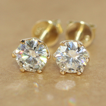 Screw Back Solid 18K 750 White/Yellow Gold 1 Carat G-H Test Positive Lab Grown Moissanite Diamond Stud Earrings For Women