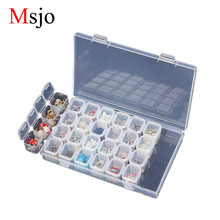 Msjo Jewelry Organizer Box 28 Lattice Plastic Earring Esmalte de Uñas Lápiz Labial Joyero Home Drawer Organizador de Escritorio