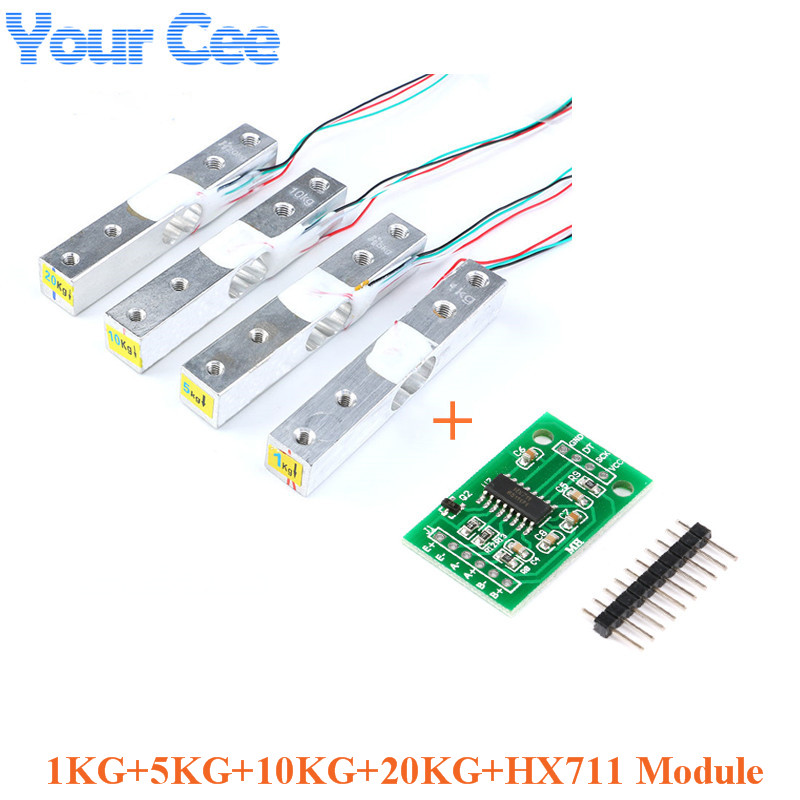 Load Cell 1KG 5KG 10KG 20KG HX711 AD Module Weight Sensor Electronic Scale Aluminum Alloy Weighing Pressure Sensor