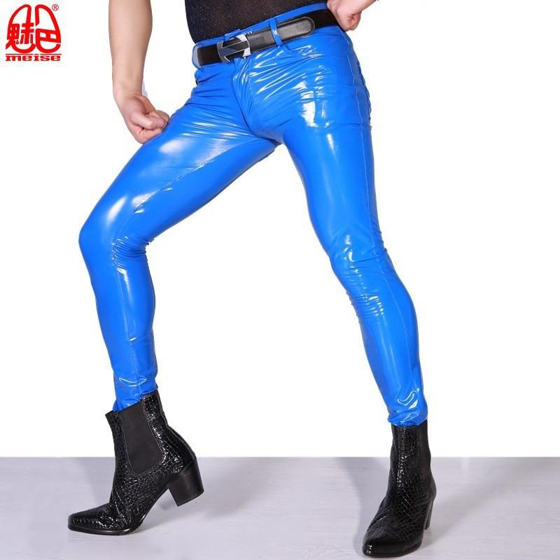 Sexy Men High Elastic Blue PVC Shiny Pencil Pants Tight Faux Leather Zipper Front Fashion Glossy Punk Pencil Pants Gay Wear F123