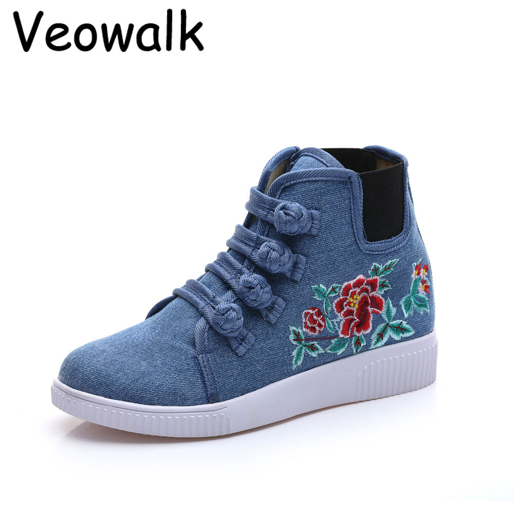 Veowalk Flower Embroidery Women's High Top Canvas Shoes Multi-Buckles Denim Cotton Ladies Casual Flat Platforms Zapatos Mujer vintage flats shoes women casual cotton peacock embroidered cloth flat ankle buckles ladies canvas platforms zapatos mujer
