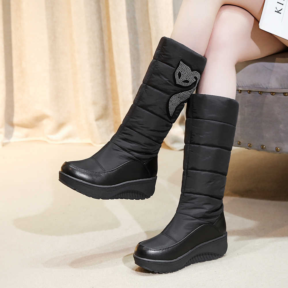 Meotina Kış Kar çizmeler kadın ayakkabıları Kristal Platformu Kama Topuk Orta Buzağı Çizmeler Sıcak Peluş Çizmeler Bayan Ayakkabıları Büyük Boy 44 11