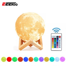 Rechargeable LED Table Lamp 3D Moon Lamps 16 Colors Bedside Lamp Dimmable Home Decor Luminaria Night Table Light For Kid Bedroom(China)