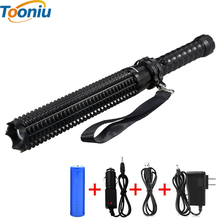 CREE XM-L T6 LED Flashlight Self-defense Toothed Mace 4500LM Torch Lights 5 Mode Outdoor Patrol Rechargeable Flashlights