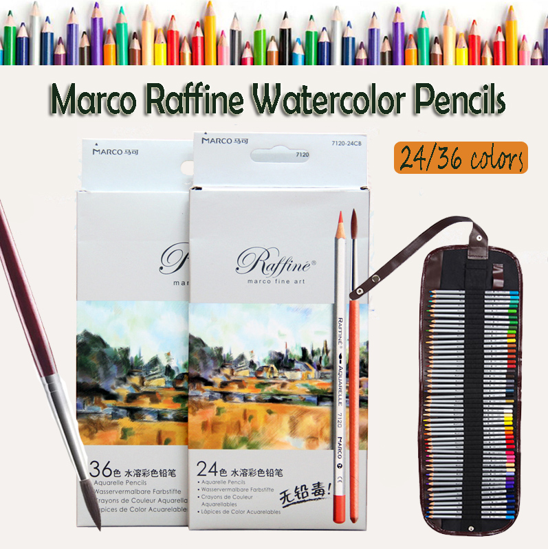 Marco Fine Art Colorful Pencils High Quality 24 36 Colors Drawing Water Colored Pencil for Coloring Books Drawing Writing Sketch marco raffine fine art colored pencils 24 36 48 colors drawing sketches mitsubishi colour pencil for school supplies