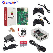 Wholesale prices Raspberry Pi Game Kit Raspberry Pi 3 + 2 Game Controller + 32GB SD Card +Power Adapter +Acrylic Case + HDMI Cable +Heat Sink+Fan